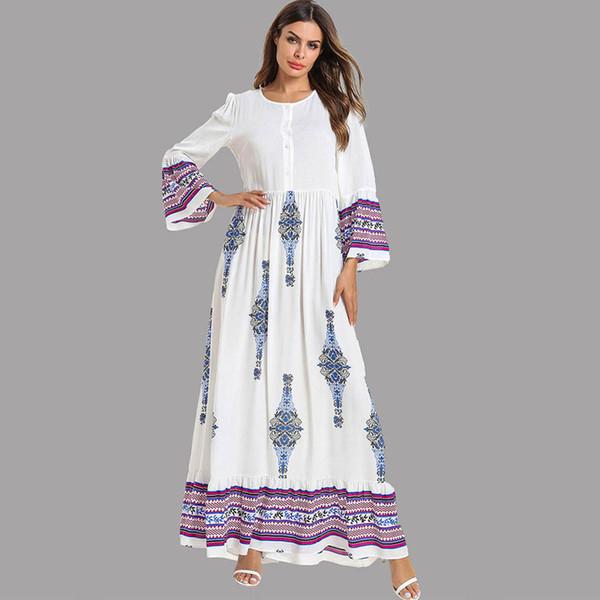 Feitong damen sommer elegante maxi dress frauen nationalen robe abaya islamischen muslimischen nahen osten lange dress vestidos verano 2019