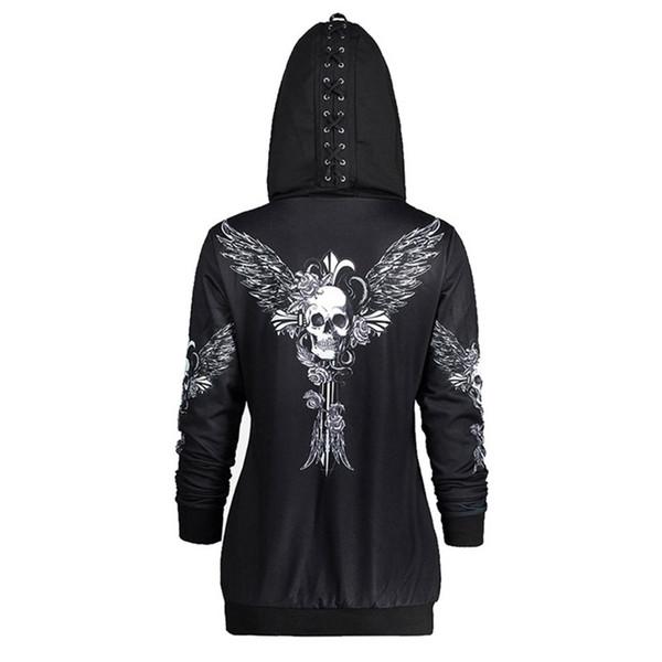 Rosetic Gothic Skull Hooded Hoodies Women Halloween Coat Fashion Zipper Fitness Streetwear Cool Girls Black Hoodie Sweatshirt Y190812