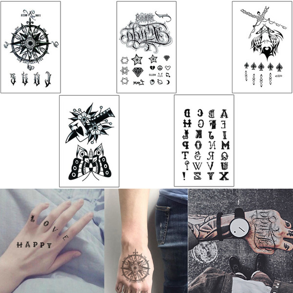 3d Hand Finger Body Makeup Waterproof Temporary Tattoo Sticker Cool Anchor English Word Butterfly Sword Design Happy Love Diy Arm Leg Tattoo Temporary