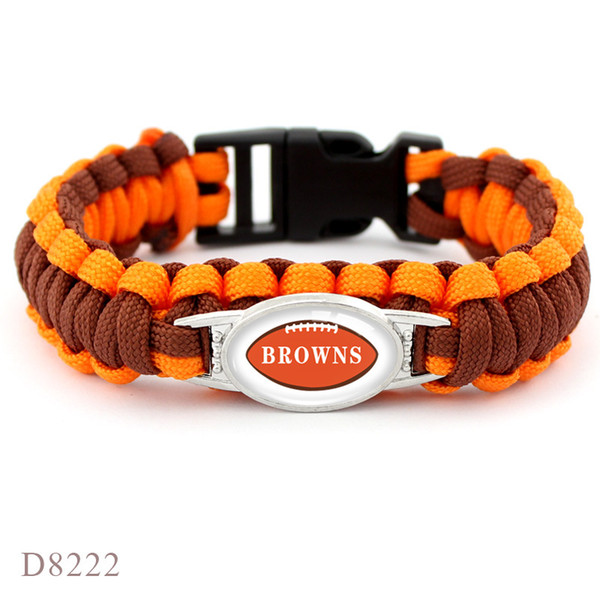 Orange Braided Umbrella Rope Glass Cabochon Browns Football Team Outdoor Camping Survival Paracord Charm Bracelet For Women Men Jewelry Gift