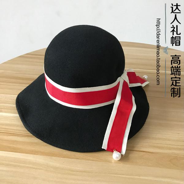 Yeni yün şapka inci çift renk şerit katlanır kova şapka balıkçı şapka kadın