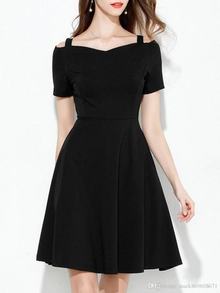 Zada Women\'S Plus Size Dress Solid Color Slash Neck Short Sleeve Aline  Dress Short Evening Dress Designer Evening Dress From Zadastore, $5.03| ...