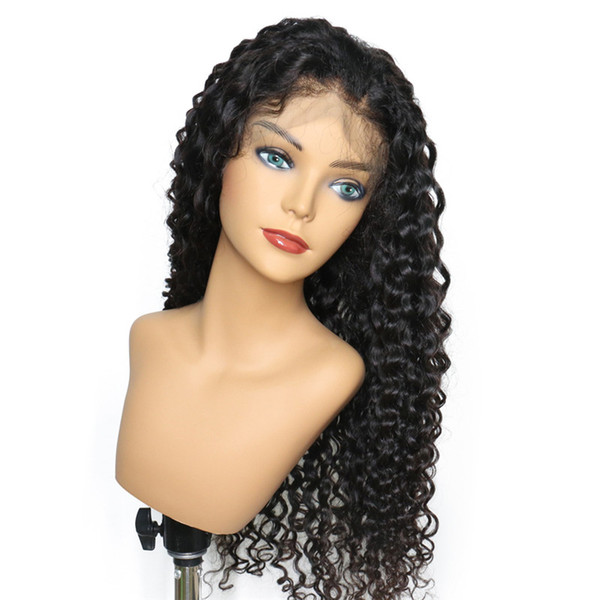 Hot Selling Style Indian Virgin Human Hair High Quality Swiss Lace Front Wigs Deep Curly Full Lace Wig