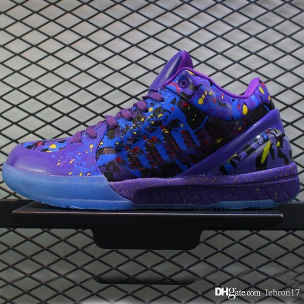 cheap mens kobe 4 Protro basketball shoes new retro ZK4 Purple Black Mamba Red Blue Yellow kb4 lebron 16 sneakers boots with box size 7 12