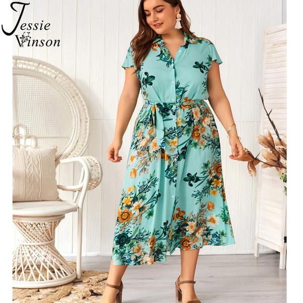 Jessie Vinson Short Sleeve Floral Print Plus Size Long Shirt Dress Women Summer Belted Button Dress Casual Office Lady Dresses SH19062702