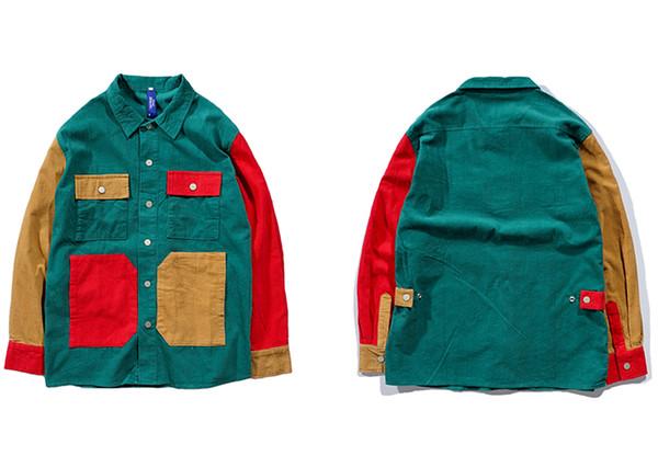 tuchenhua Men Hip Hop Thin Corduroy Jacket Retro Color Block Jacket Shirt Streetwear Harajuku Multi Pockets Jackets Reggae 2018 Autumn New