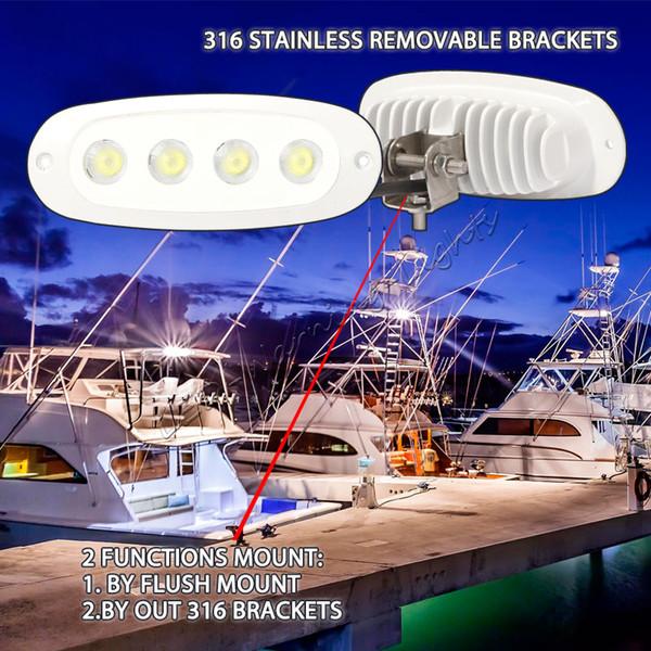 Freies 2 stück 12 Watt marine led arbeitslicht boot scheinwerfer flut 12 V 24 V lampe 316 halterung unterputz multi work flut lampe