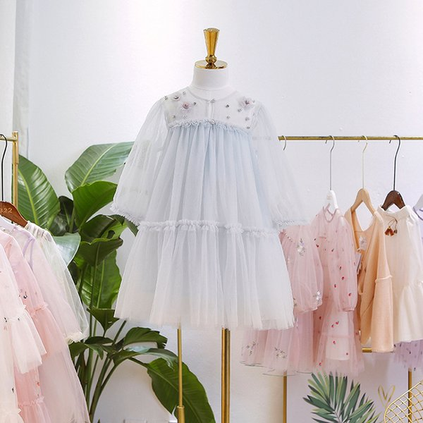 Kids rhinestones beaded lace tulle dress girls flowers applique princess dress 2019 new children valentine's day party dresses F3756