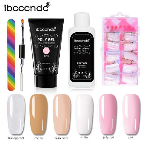 Poly Gel Kit Nail Builder Gel Polish Polish Polygel Quick Nail Extension Hard Gel UV Lacquer Slip Solution Nail Art Set