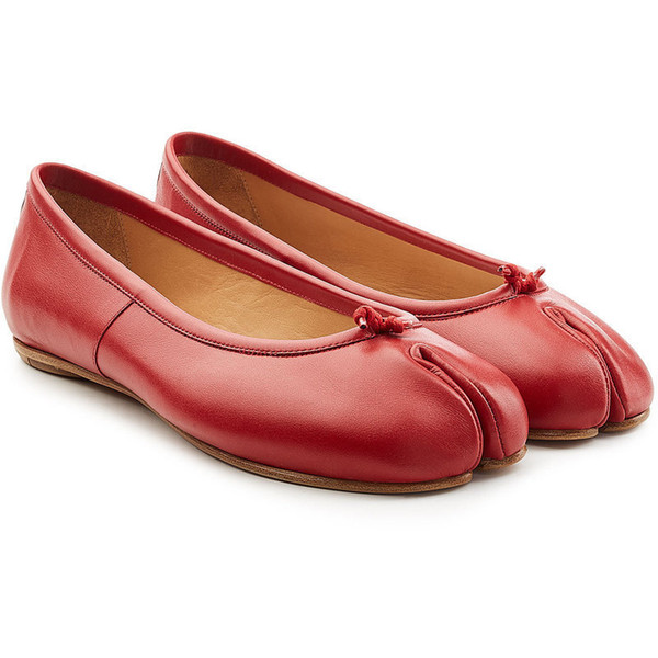 Fairy2019 Toe Part Genuine Leather Summer Red Flat Woman Circle Head Shallow Mouth Doug Single Shoe Pig's Trotters Ninja Shoes