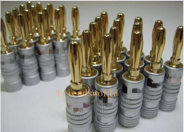 top popular High Quality 24K Gold Speaker Banana Plugs Connectors Sockets From Seller Friendsworld 500pcs lot DHL Free Shipping 2021