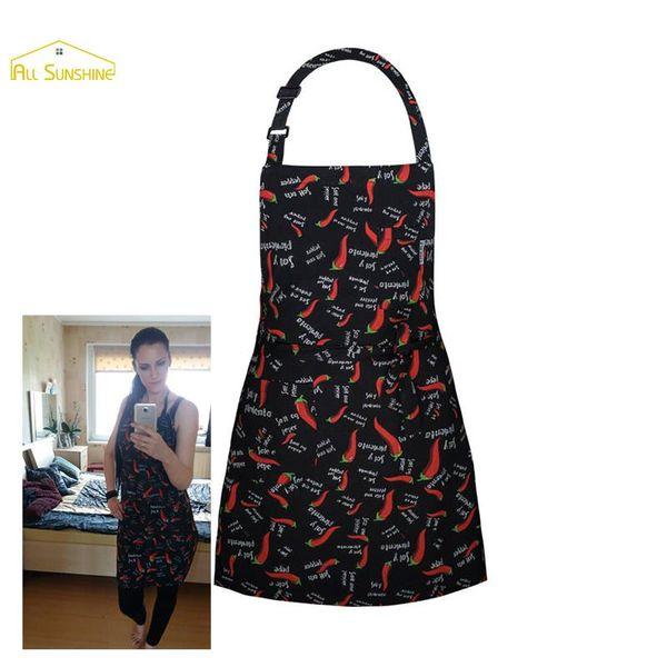 Black Retro Kitchen Cooking Apron Bib Red Pepper Pattern Halter Chili Avental De Cozinha Divertido Tablier Cuisine For Adults