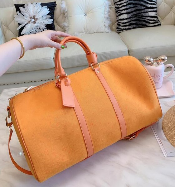 large capacity women travel bags 2019 sale quality men shoulder duffel bags carry on luggage keepall 55 bottom rivets with lock he1565148676