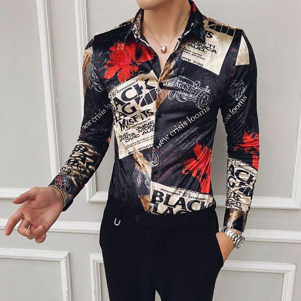 kendini yetiştirme altın kadife baskılı gömlek Sonbahar trendi yeni gece kulübü saç stilisti uzun kollu gömlek erkek büyük boy Kore versiyonu