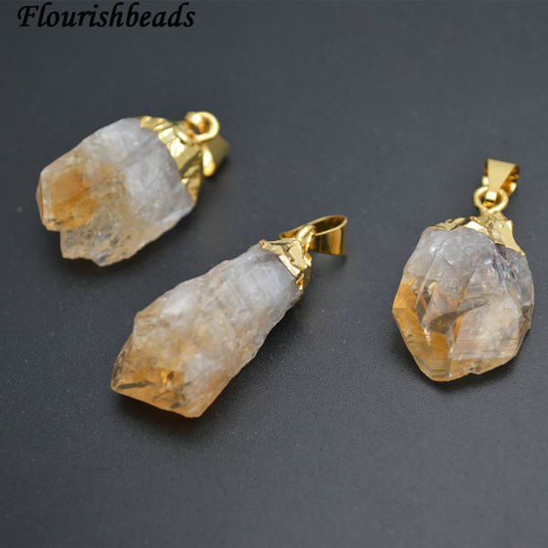 cute small size natural citrine yellow crystal quartz rough stone nugget pendant fit necklace making