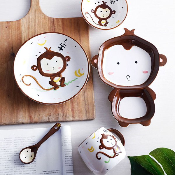 Piatti In Ceramica Per Bambini.Acquista Cartoon Animal Set Di Stoviglie In Ceramica Bambini Bambini Toddler Baby Dipinto A Mano Piatti Vassoio Di Alimentazione Scimmia Dish Bowl Mug