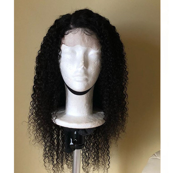 Natural Soft Cheap Wigs 1B# 180% Long Black Afro Kinky Curly Synthetic Wigs Heat Resistant Gluelese Lace Front Wigs for Black Women