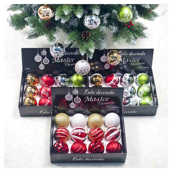 12pcs/1box Christmas Tree Decor Ball Xmas Party Hanging Ball Ornament decorations for Home Christmas decorations