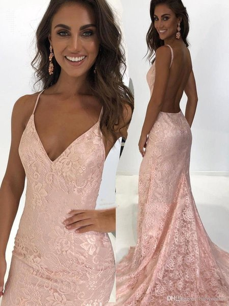Gorgeous Blush Pink Lace Mermaid Evening Dresses Sexy 2019 Backless Spaghetti Straps Vestidos de Longue Party Prom Gowns BC0790 2K19