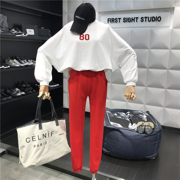 Casual Suit Women 2019 New Simple Digital Printing Long-sleeved Sweater + Pants Fashion Women Two-piece Sets E768