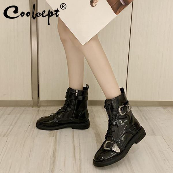 Coolcept las botas del tobillo para las mujeres del color sólido de la hebilla de los zapatos de las mujeres casual de invierno cálido paseo trabajo Pisos Mujer Calzado tamaño 35-40