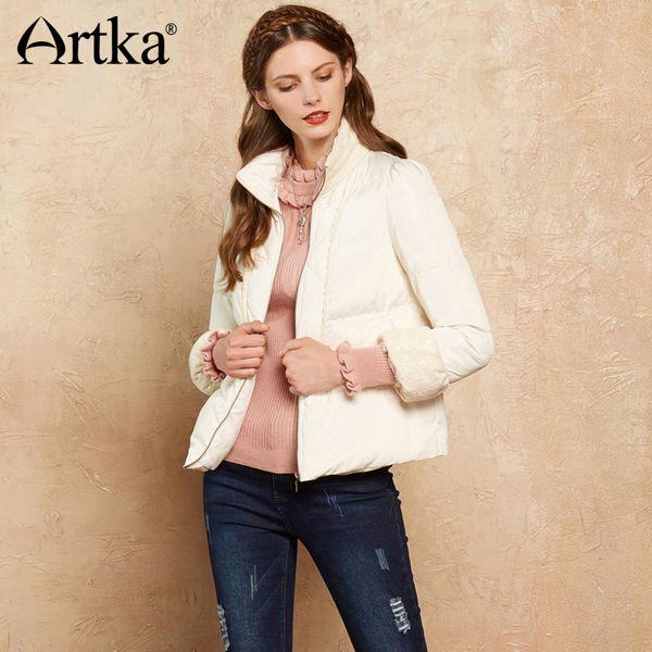 ARTKA Winter Women's Down Coat Female Parka White Elegant Outerwear Short Duck Down Coat Women Floral Lace Windbreaker DK10078Q