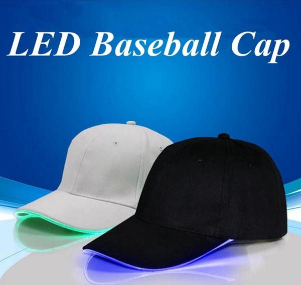 Hot new LED Casquettes de baseball Coton Noir Blanc Brillant LED Light Ball Caps Glow In Dark Réglable Snapback Chapeaux Lumineux Chapeaux De Fête WCW183