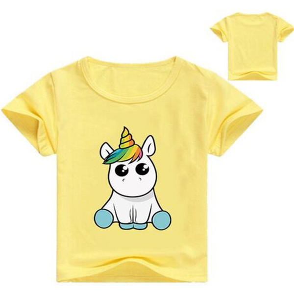 Unicorn Kids T-shirts 11 colors 1-12y Kids Boys Girls Unicorn Cartoon Printed Round Neck T-shirts kids designer clothes DHL FJ41