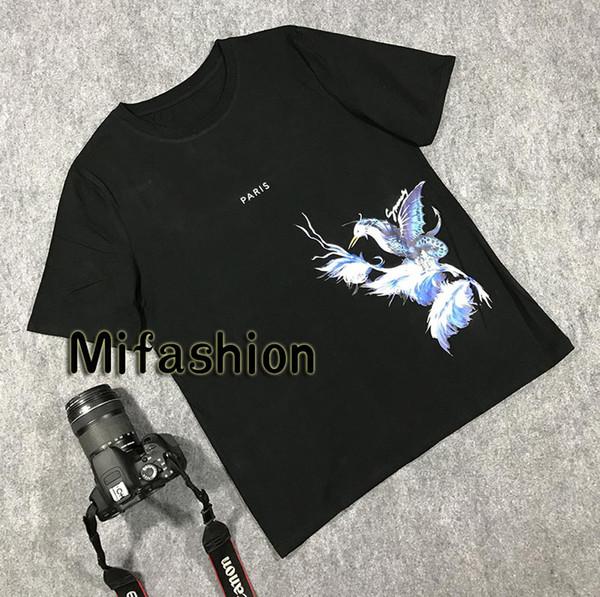 2020 Yaz Lüks Avrupa Fransa Paris Mavi Kuş Çiçek Tişört Moda Erkekler Kadınlar Tişörtlü Casual Pamuk Tee Üst