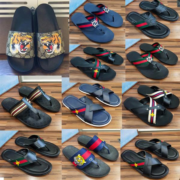 2019 meilleure qualité Hommes Sandales Chaussures De Designer ace bee chaussures Luxe Slide Summer Mode Large Sandales Glissantes Plates Slipper Flip Flop
