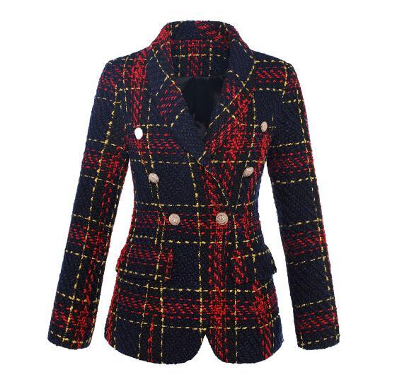 Automne rouge Nouveau style 2020 Designer Blazer femmes Vestes Manteaux double breasted Lion Boutons en métal Plaid Blazer en tweed de laine vêtement extérieur