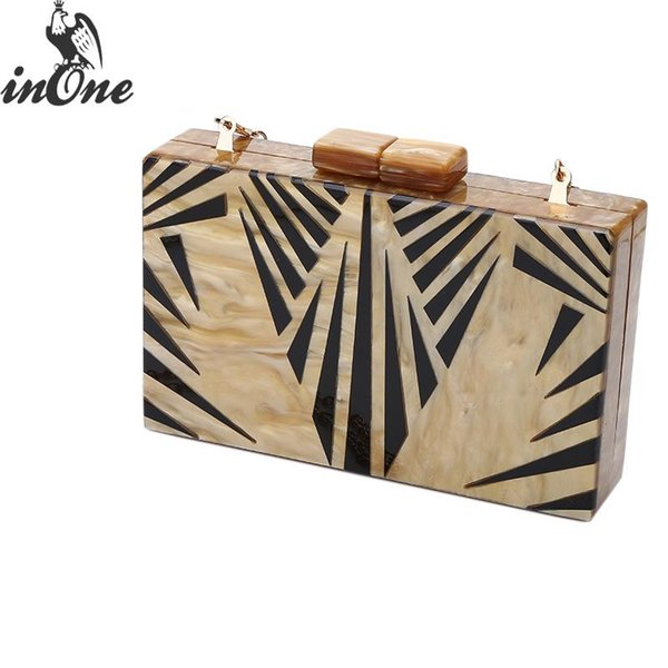 INONE Crossbody Clutch Evening Bags for Women 2019 for Party Bolsa Feminina Chain Shoulder Bag Ladies Fashion Acrylic Box Purse
