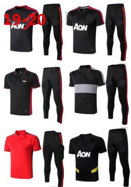 19 20 Polo de Manchester Pantalones de camisa de manga corta Traje de entrenamiento de fútbol United POGBA 2019 RASHFORD LUKAKU Hombre Chándal de fútbol