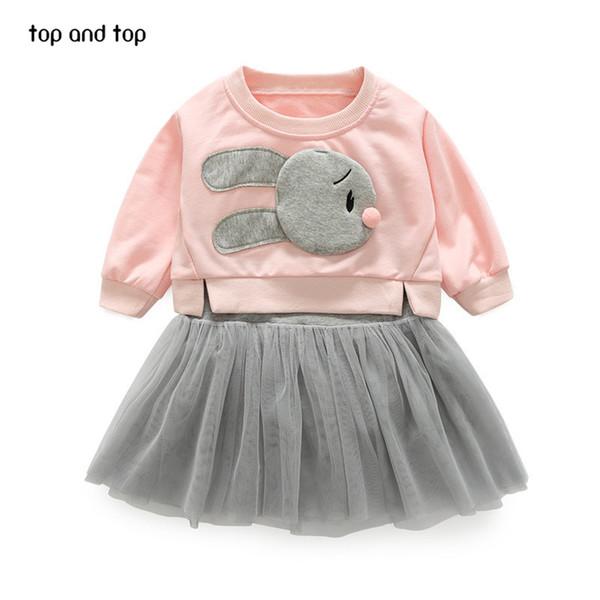 La parte superior y la parte superior muchachas de los niños conjuntos de ropa de conejo camiseta + chaleco vestidos de encaje 2 piezas / juegos para niños de la moda ropa de vestir chica