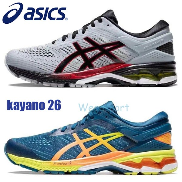 exceptional range of colors reasonable price free shipping 2019 Designer Asics Gel Kayano 26 Men Running Shoes Top Quality Dark Grey  Blue Training Shoes Sport Cushion Sneakers Size 40.5 45 From Wegosport, ...