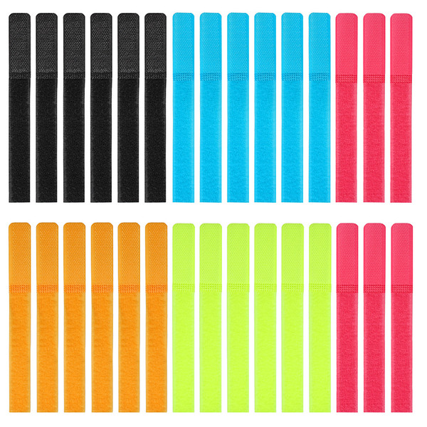 top popular Reusable Cable Ties,Pack Of 30 Hook And Loop Fastener With Five Colors For Cable Sorting Of Wired Headsets,Mobile Phones,And Computers 2021