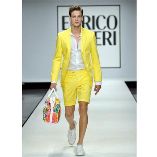 Summer Yellow Men Suits With Short Pants 2 Piece(jacket+pant+tie) Wedding Prom Casual Style Slim Groom Tuxedos Blazer 575 C190416