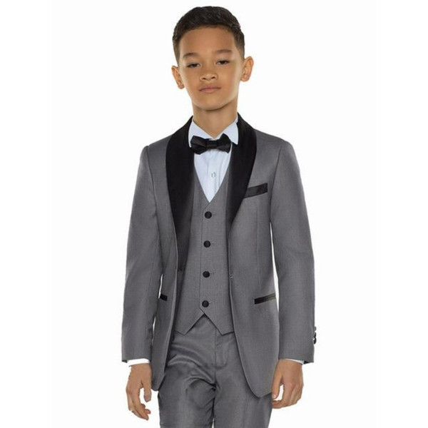 2019 New Arrival Groom Boy Suits Grey/White Handsome Cute Kids Wedding Party Tuxedos 3 piece Suits (Jacket+Pants+Vest+Tie ) YM