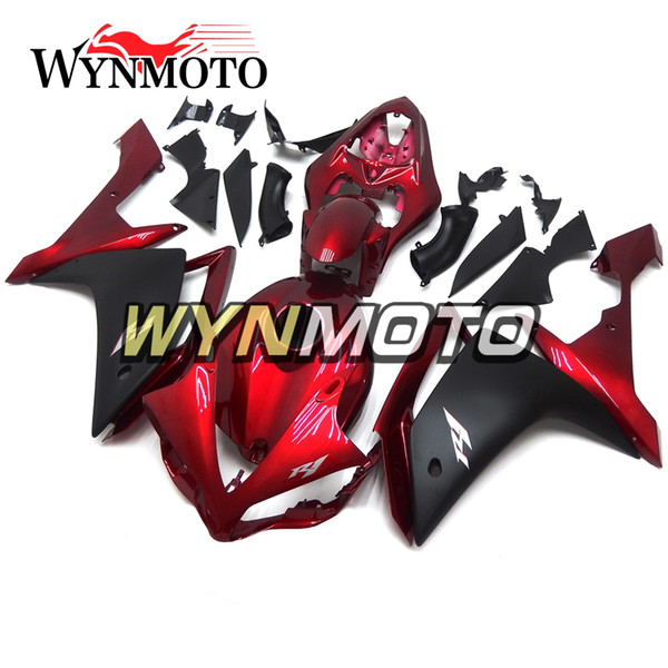 DEEP Red and Matte Black Upper Plastic Injection Casing For Yamaha YZF1000 R1 Year 2007 2008 Complete Fairing Kit R1 07 08 Body Kit Cowling