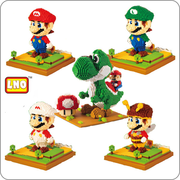 Juego de LNO Super Mario Luigi Yoshi Monster Fire Bee Mario Pikachu Pocket Monster DIY Mini Building Diamond Nano Bloques de juguete sin caja Y190530