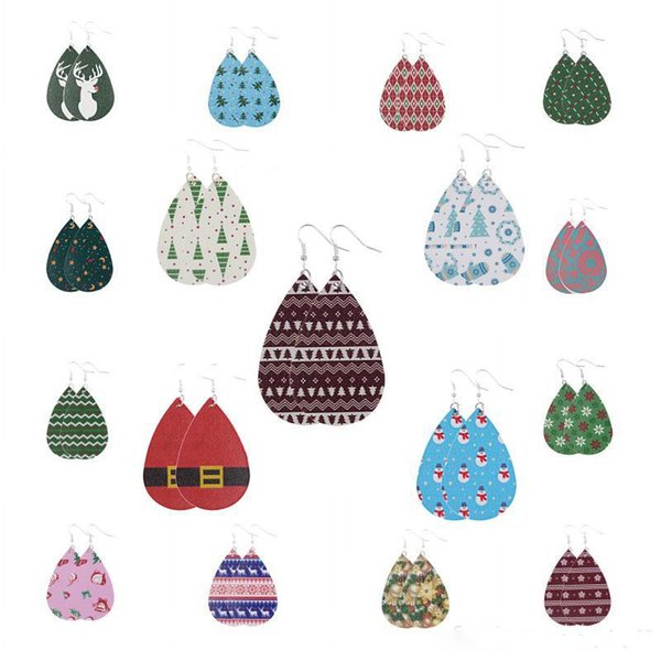 Teardrop Dangle Earrings PU Leather Christmas Print Earrings for Women Girls Daily Party Fashion Accessorices