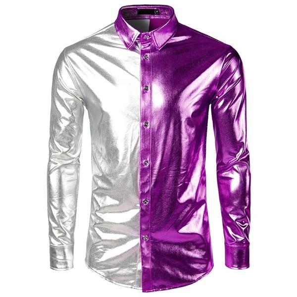 2019 Nightclub Patchwork Disco Dance Tops New brand Shirt Gold Sliver Costume Party Fashion Men's Metallic Shiny Slim Clubwear