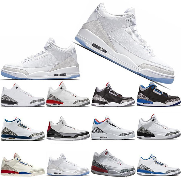 Free Shipping 3 3s Men Basketball Shoes SEOUL Katrina Mocha Charity Game Pure White Infrared Fly Black III Sport Shoe Designer Sneakers 8-13