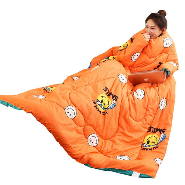 Winter/Autumn Lazy Quilt with Sleeves Family Comforter Cape Cloak Nap Blanket Dormitory Mantle Covered Blanket Bed Quilt