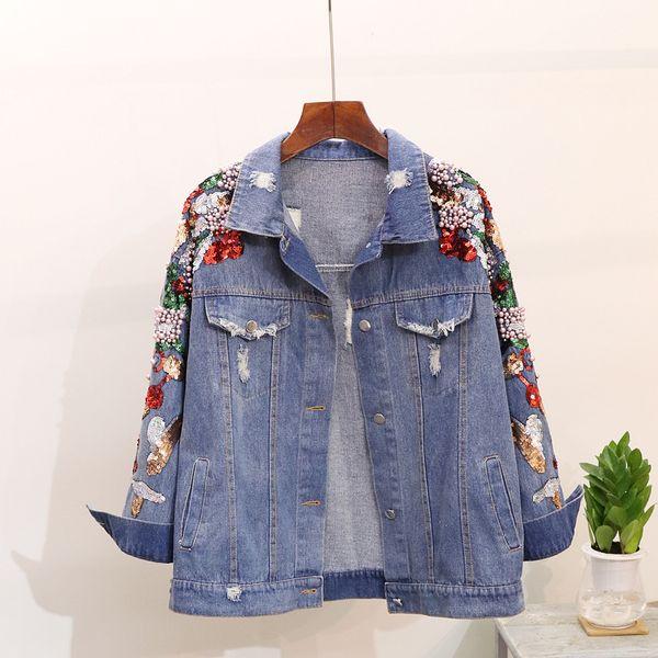 İlkbahar Sonbahar Kadın Kot Ceket Kaban Yeni Ağır Stereo Işlemeli payetler Çiçek Denim Ceketler Öğrenci Temel Mont