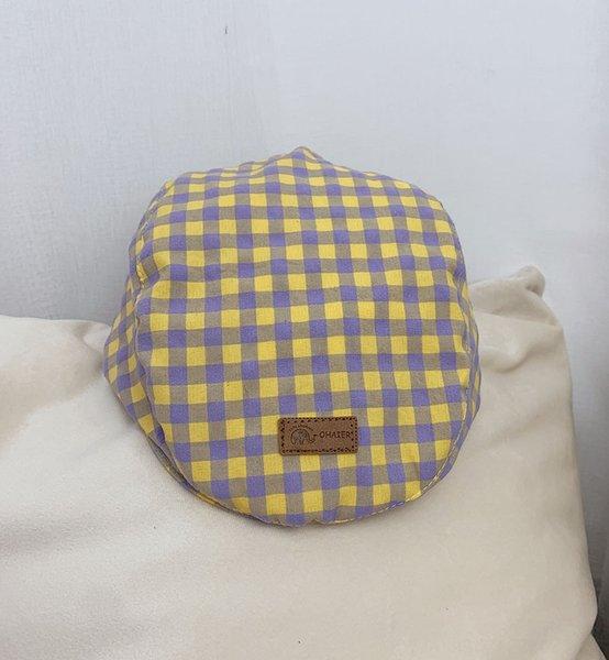 Amarillo y púrpura de la tela escocesa (Belle de Estilo)
