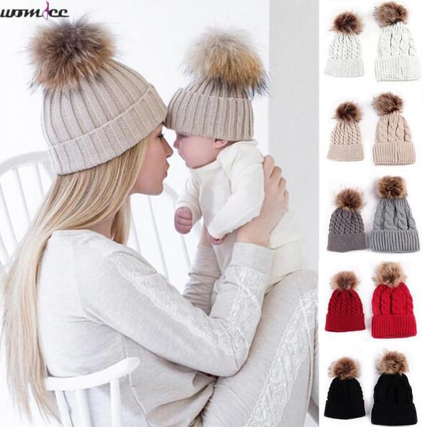 2pcs Set Family Child Winter Knit Crochet Caps Fur Beanie Hat Mother Daughter Son Baby Boy Girl Toddler Skullies Cap 0-18 month