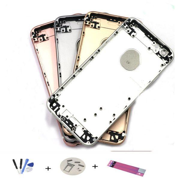 IPhone 6 S için Geri Konut Metal Çerçeve Değiştirme iPhone 6 S Artı Pil Kapı Kapak Arka Kapak Şasi Çerçeve + Onarım ARACı