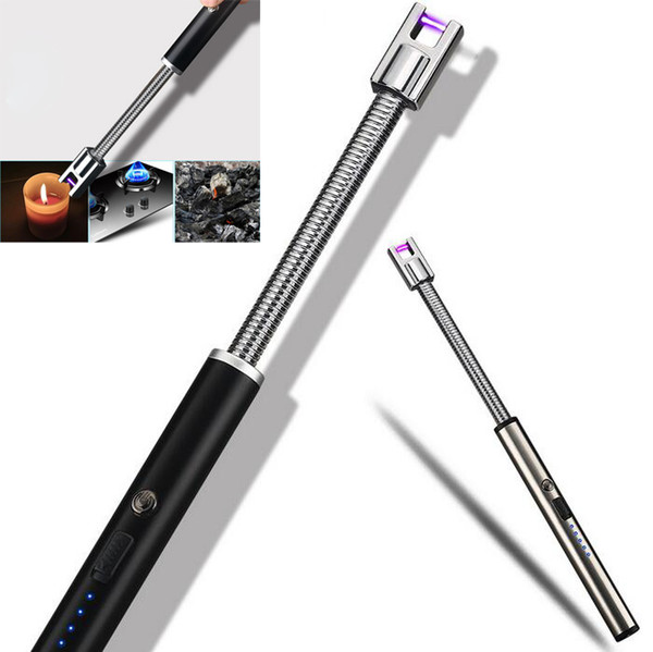 New Electric Lighter USB Rechargeable Lighter Charge Safety Switch Outdoor Windproof Flexible Neck for Kitchen ARC BBQ