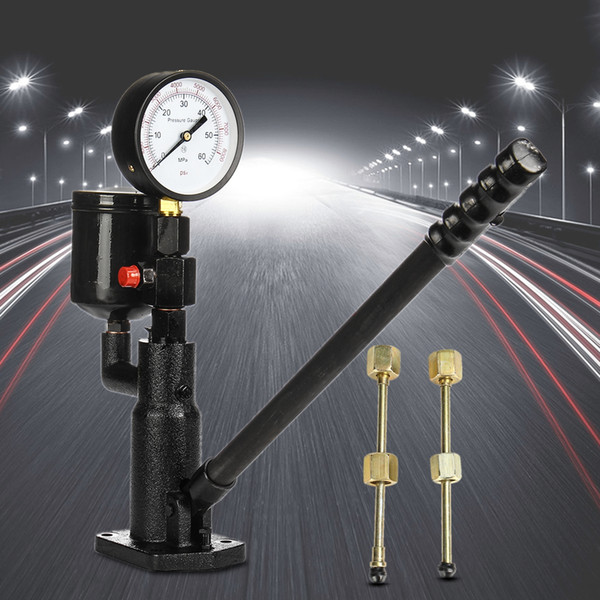 Bar/PSI 0-60Mpa Steel 1L Pop Diesel/Injector Nozzle Pressure Tester Dual Scale Read Gauge Black High Pressure Pipe Diagnostic